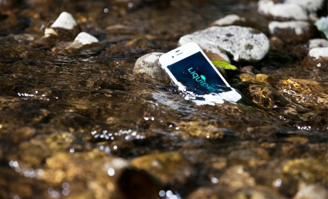 Liquipel treated phone in river