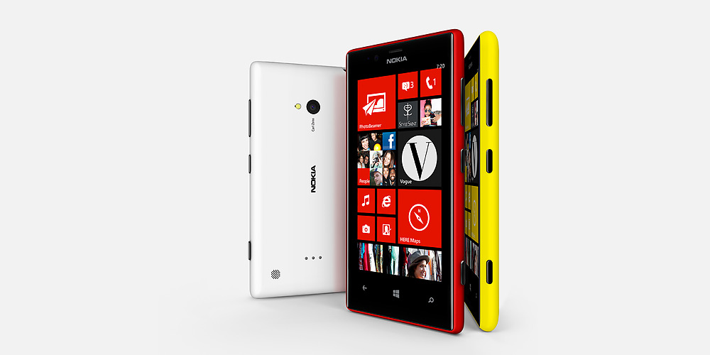 Lumia 520 - front, side and back view
